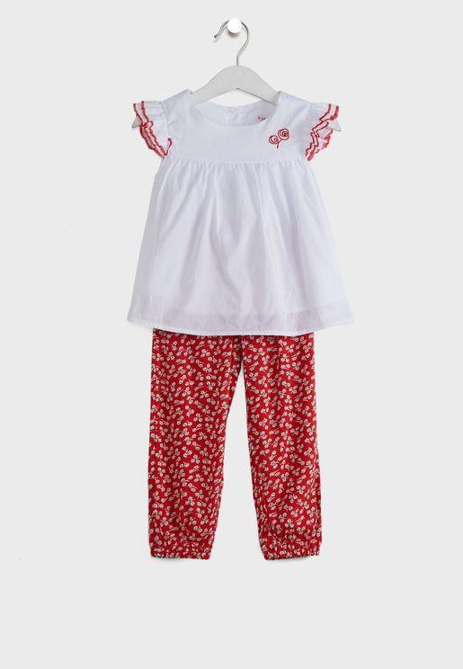 فستان غرافيك وغطاء للحفاض للاطفال