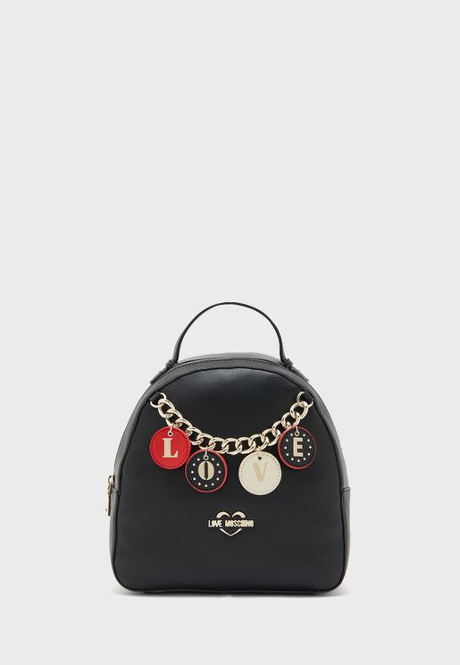 Chain Detail Top Handle Backpack