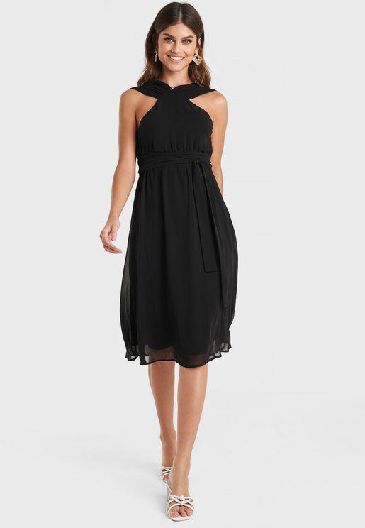 Belted Halter Neck Dress