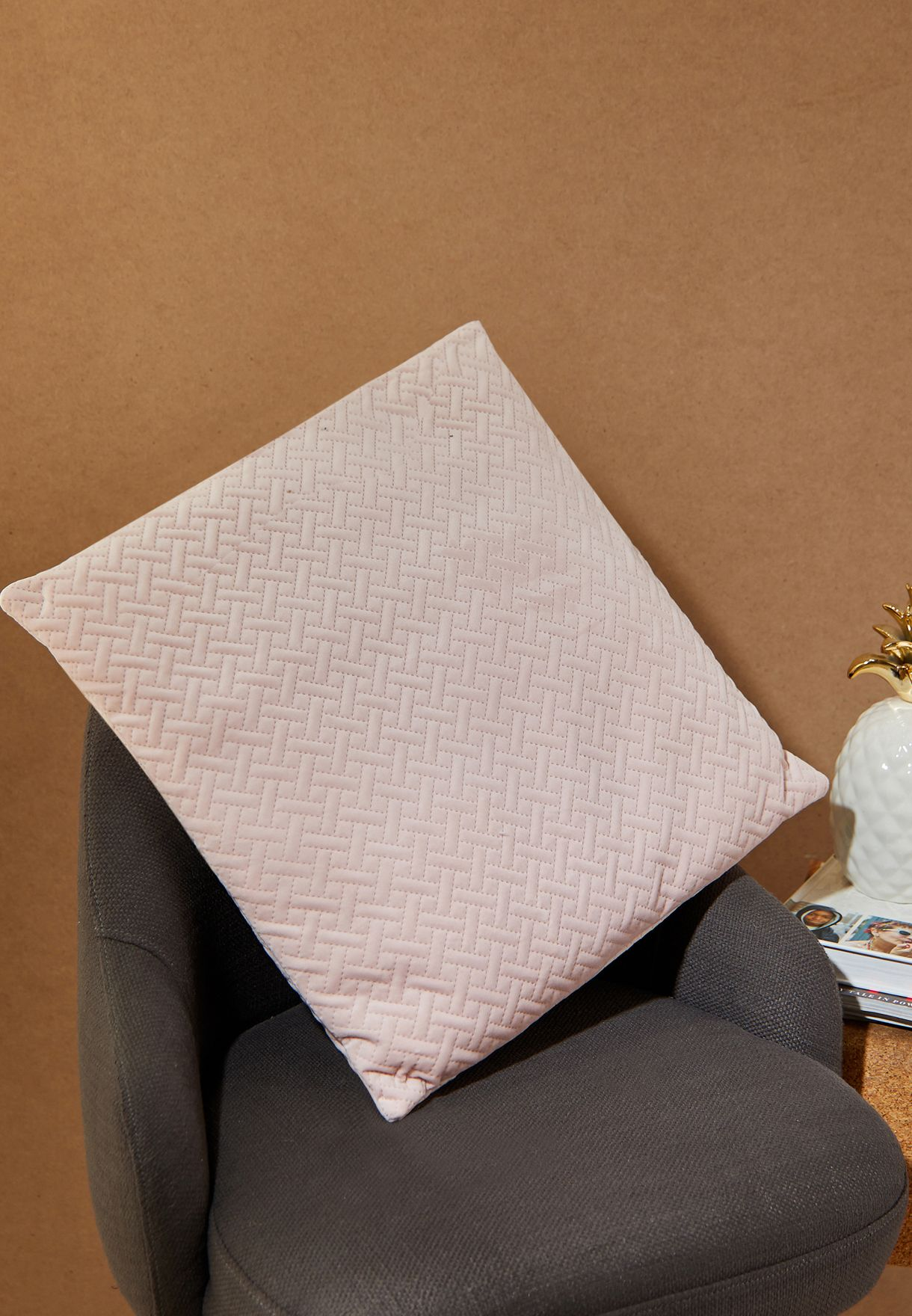Pale Pink Quilted Velvet Cushion With Insert 45*45