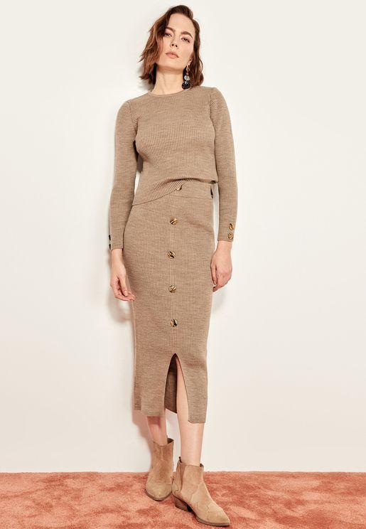 Button Through Bodycon Skirt