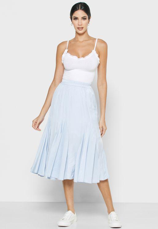 High Waist Pleated Midi Skirt