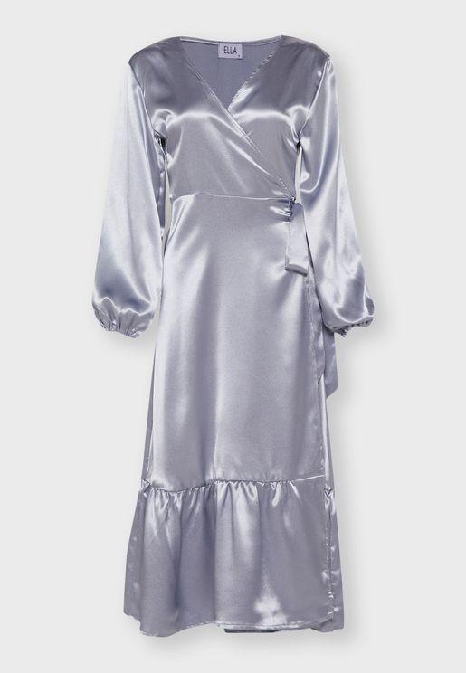 فستان ستان ميدي بنمط لف بكشكش