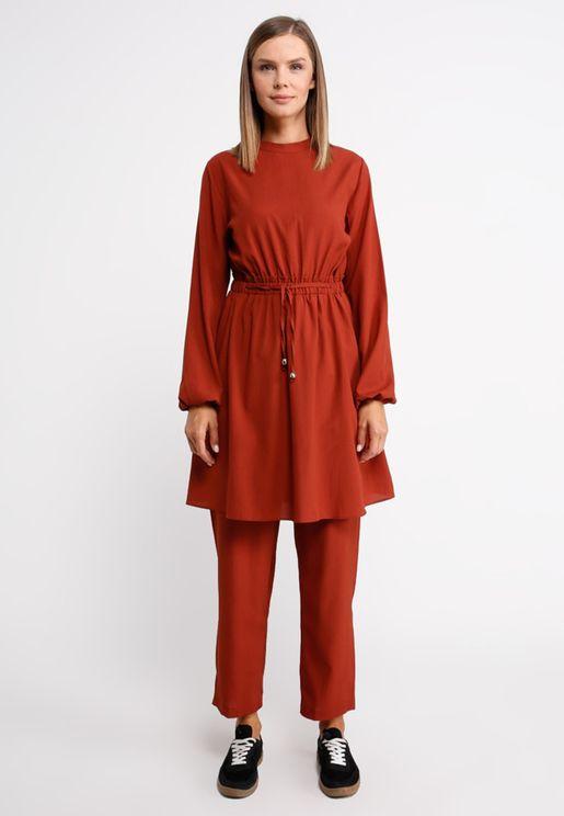 Pleated Tunic Dress & Pants Set