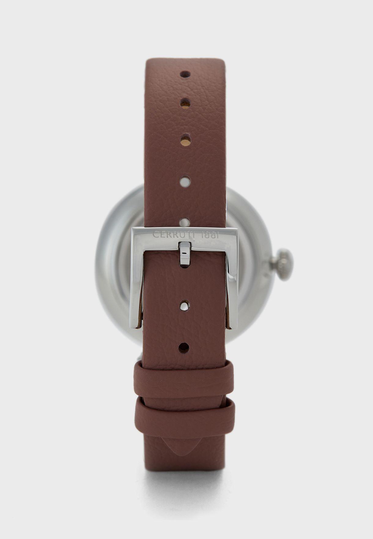 Elettra Leather Strap Analog Watch