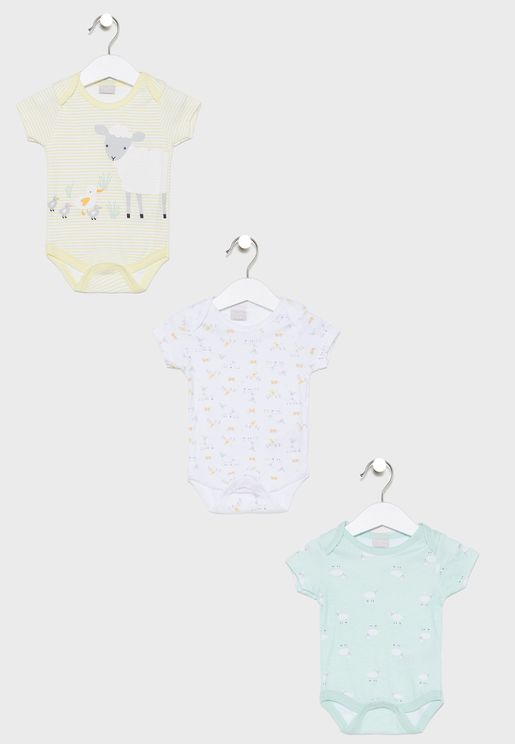 Infant 3 Pack Sheep Bodysuits