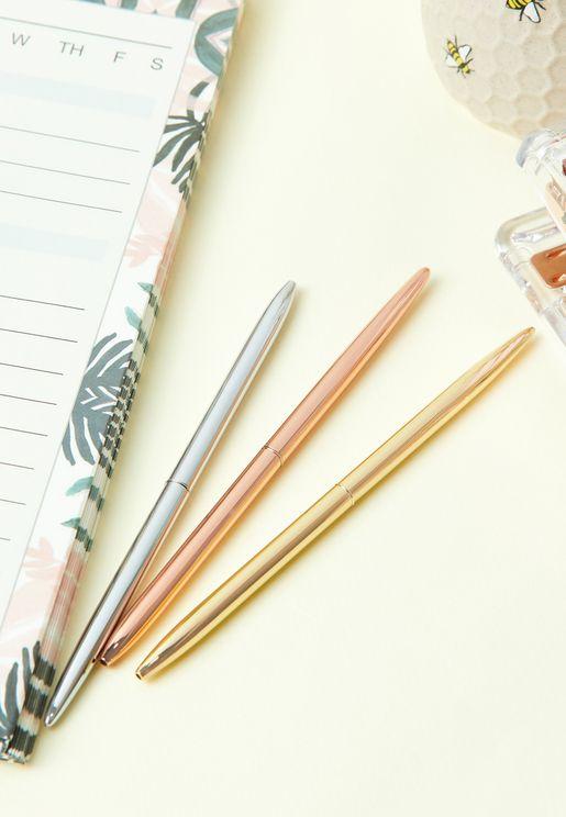 Set Of 3 Metallic Pens