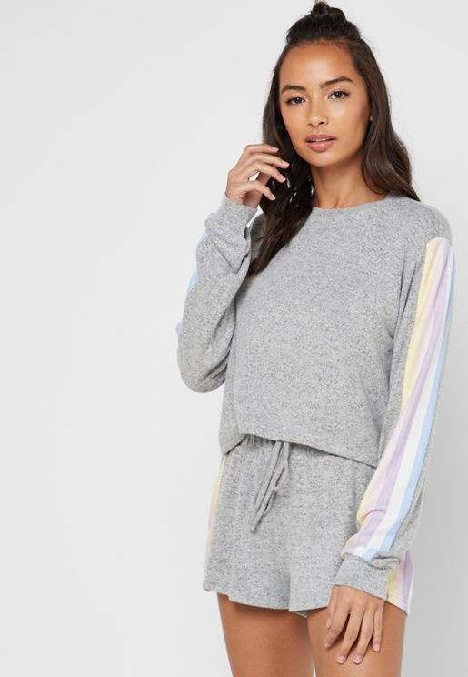 Striped Sleeve Pyjama Sweatshirt