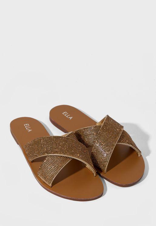 Diamante Cross Strap Sandal
