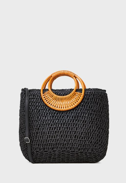 Wakiki Weave Straw Effect Handle Tote