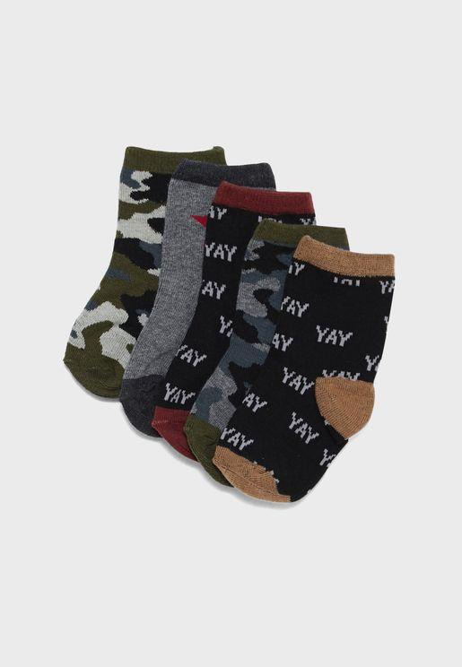 Little 5 Pack Camo Socks