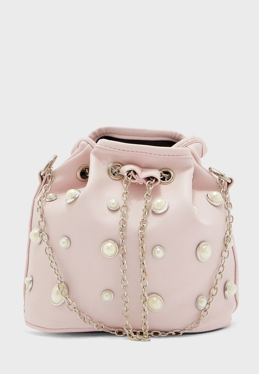 Pearl Embellished Hobo Bag
