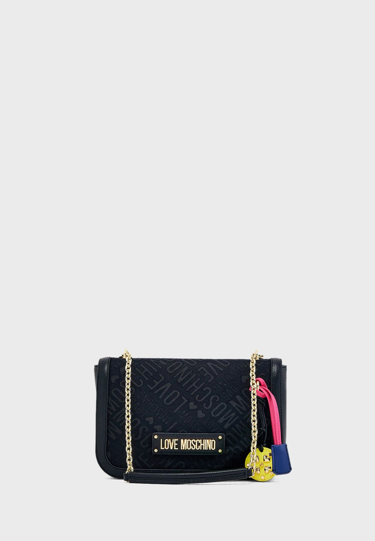 fc200feba91 Shop Love Moschino black Printed Shoulder Bag JC4210PP07KB100A for ...
