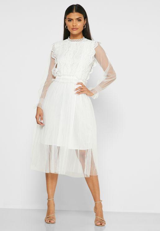 Lace Mesh Midi Dress