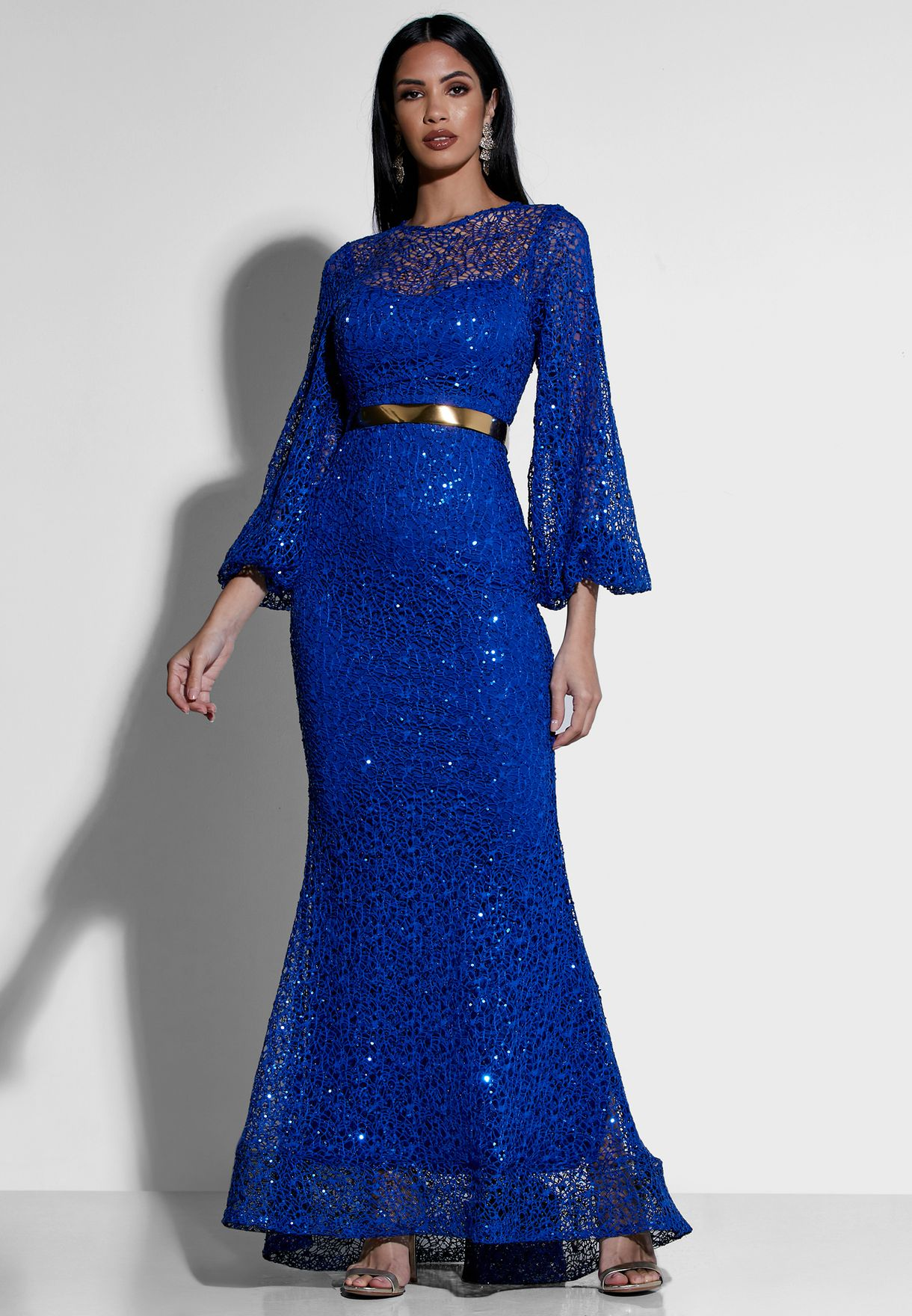 Lace Belted Maxi Dress