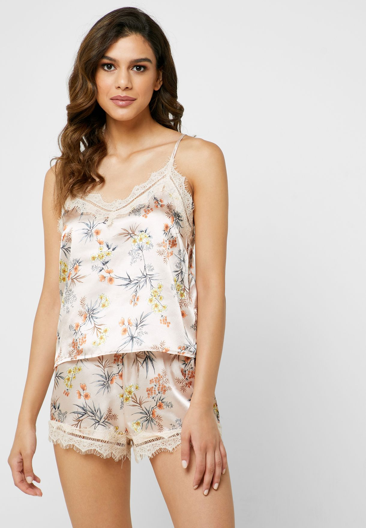 Lace Trim Printed Cami Top
