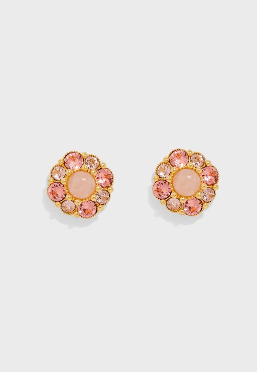 Flower And Rhinestone Stud Earrings