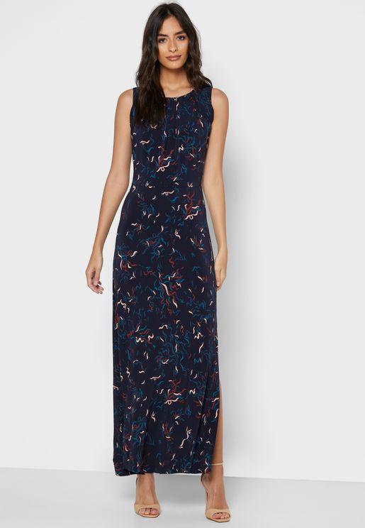 فستان بلا اكمام مع حزام وطبعات ازهار