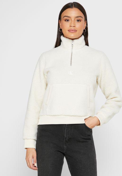 Mock Neck Zip Detail Sweatshirt