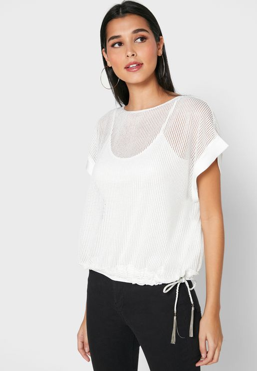 Boat Neck Mesh Top