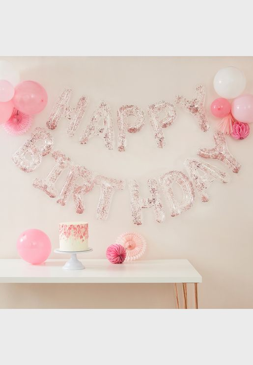 Happy Birthday Foil Letters Confetti Balloon