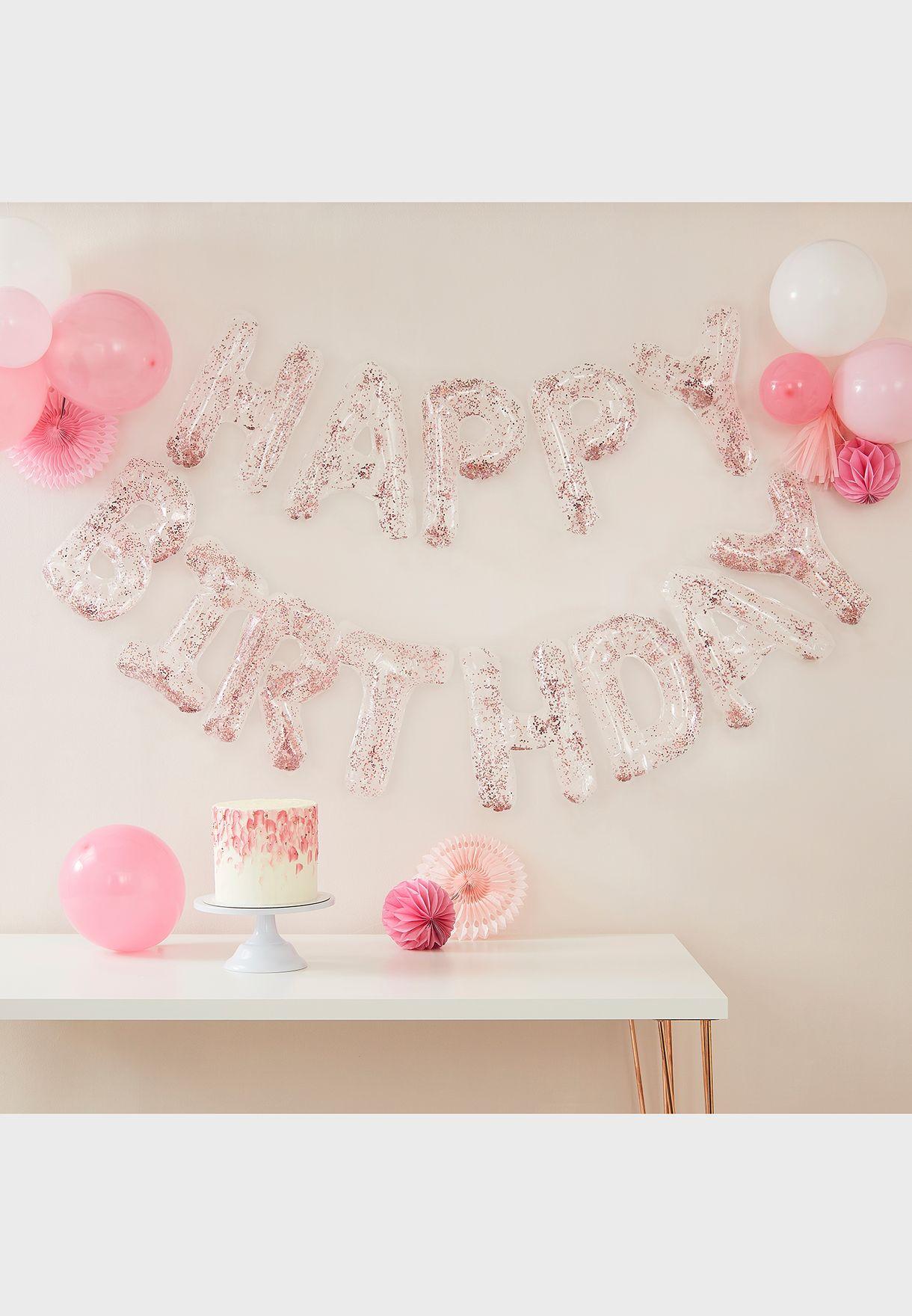Happy Birthday Foil Letters Confetti Balloon