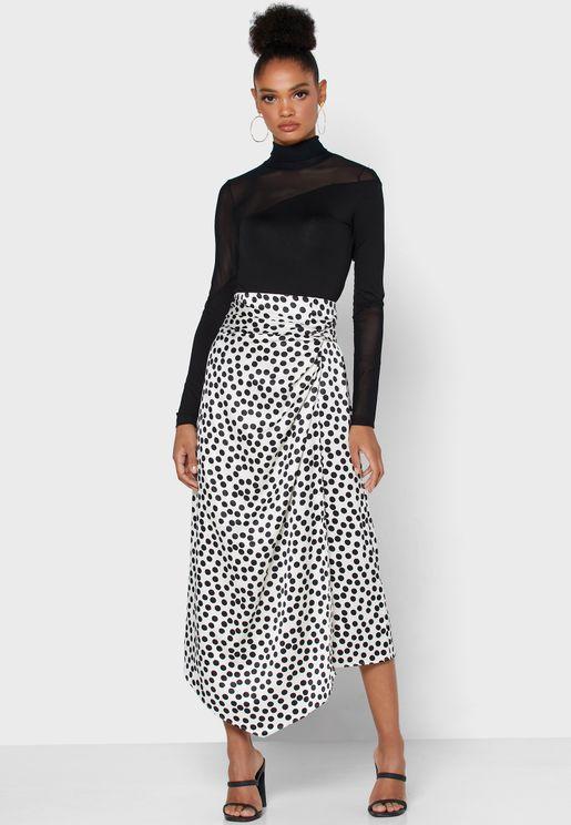 Asymmetric Printed Skirt