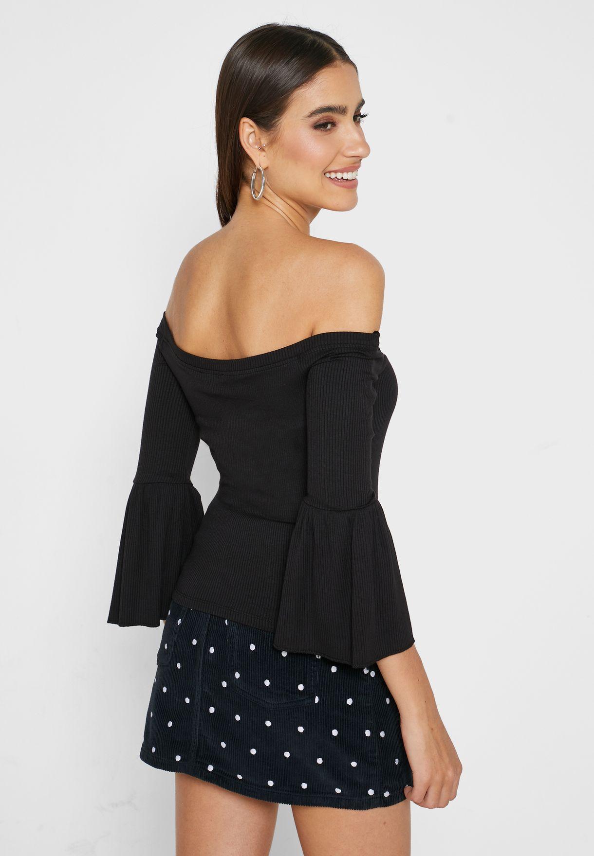 Buy Forever 21 Black Bell Sleeve Bardot Top For Women, Uae 20008at99acp