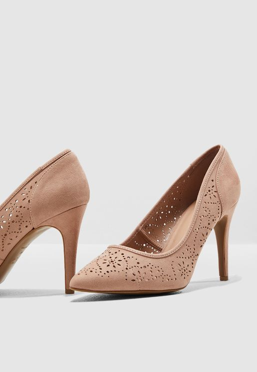 Wide Fit Rome Embroidered Pump - Beige