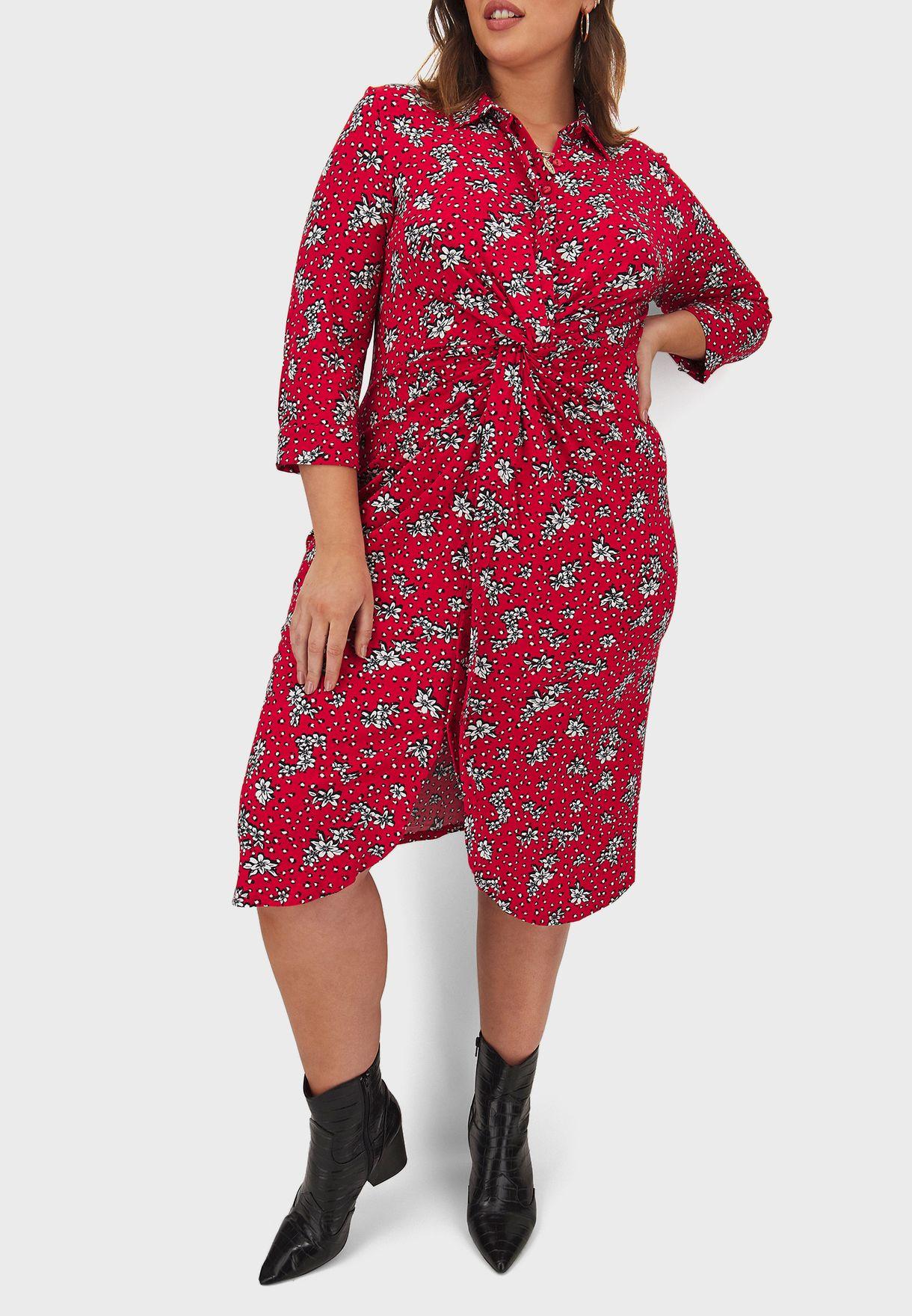 فستان بعقدة امامية مزين بطبعات ازهار