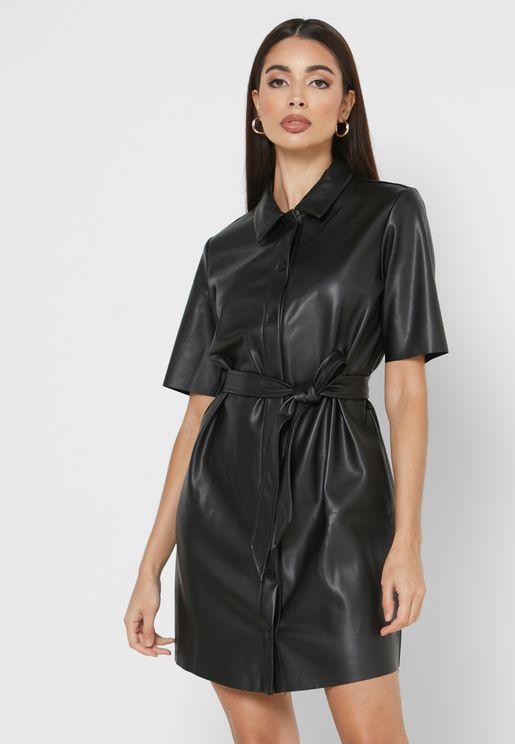 فستان جلد بحزام