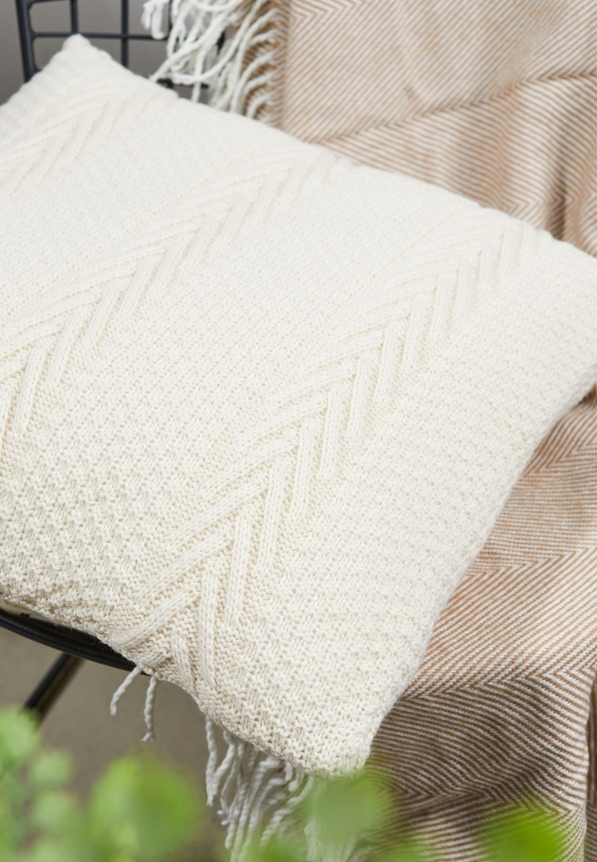 Cream Knitted Cushion With Insert 45cm x 45cm