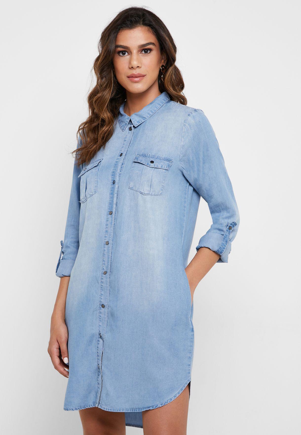 Roll Sleeve Denim Shirt Dress