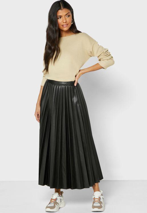 Plisse Pu Skirt