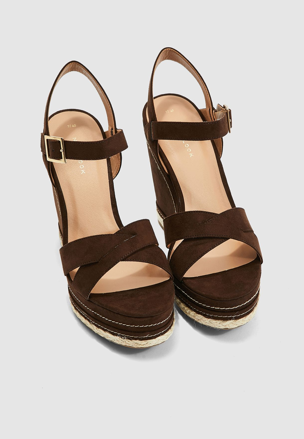 Over X-Strap Wedge Sandal - Mid Brown