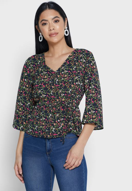 Button Down Wide Sleeve Printed Top