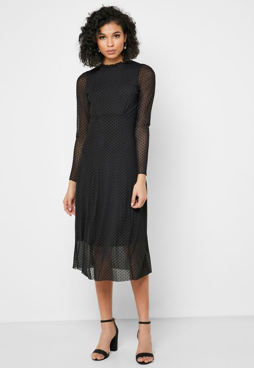 Ruffle Neck Sheer Detail Dress