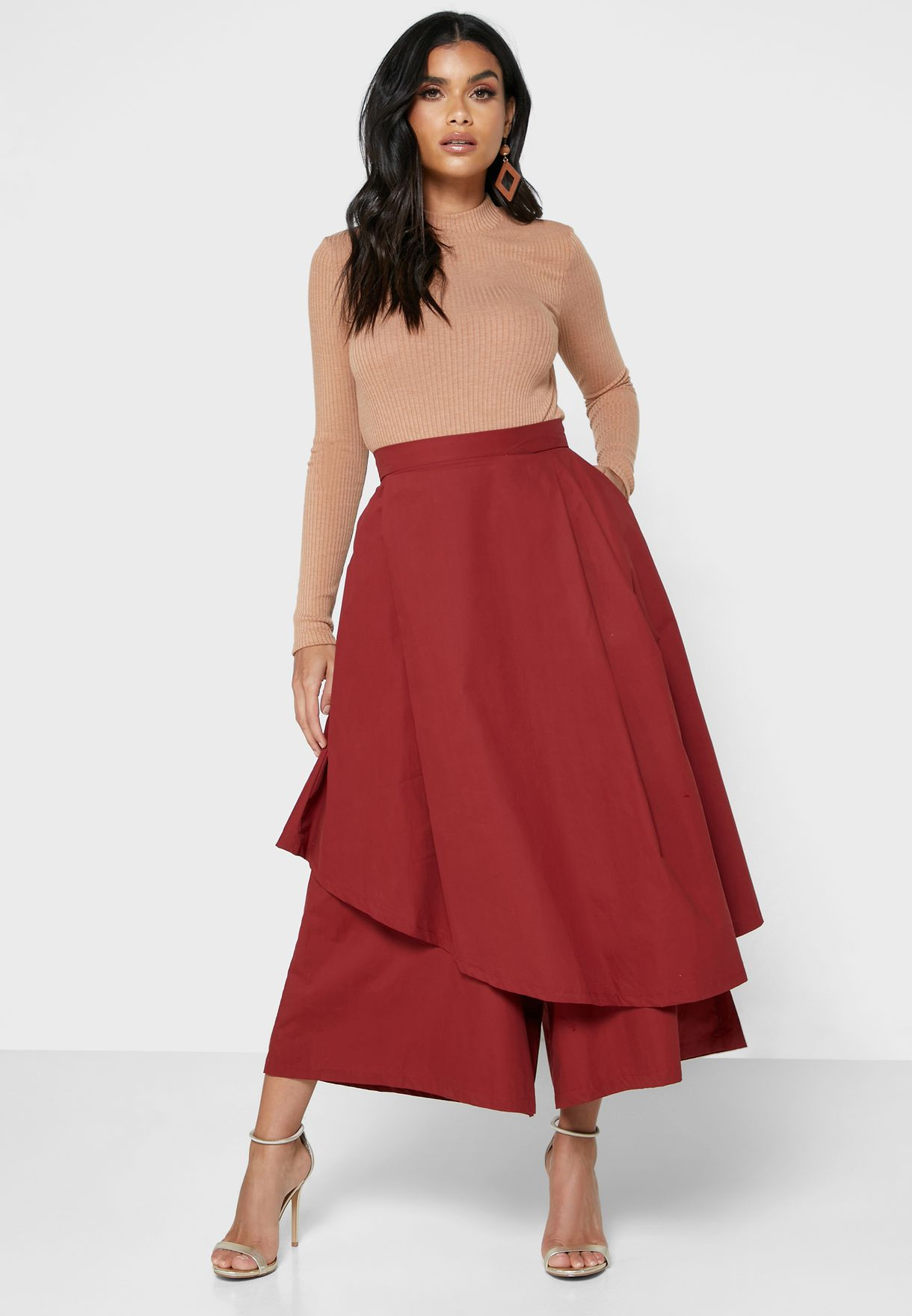 Wide Leg Overlay Pants