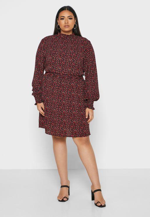 Shirred Neck Printed Dress