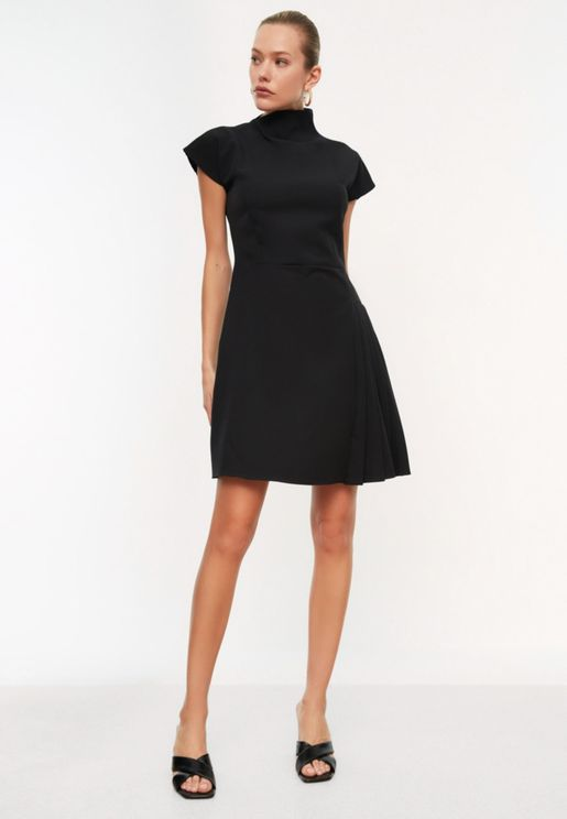 Pleated Detail Shift Dress