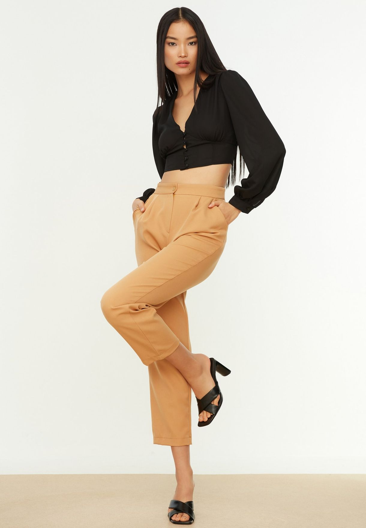 High Waist Cropped Pants