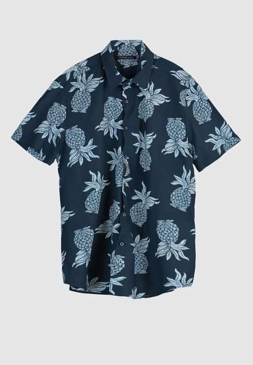 Pineapple Print Regular Fit Shirt