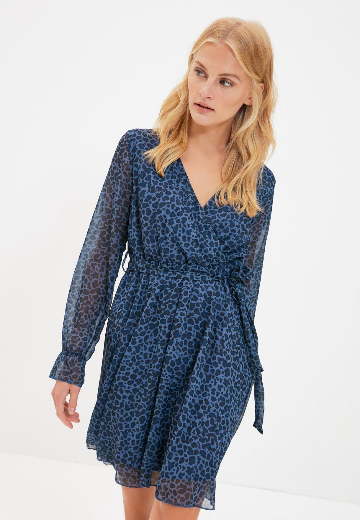 Animal Print Mesh Sleeve Wrap Dress