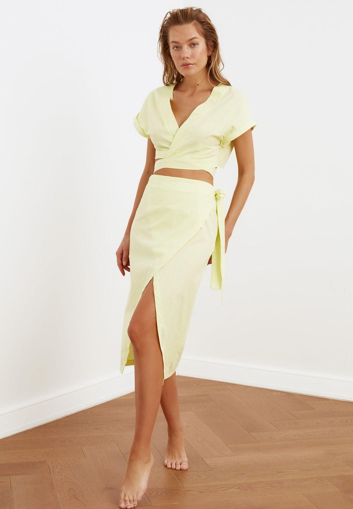 Broderie Detail Wrap Top & Skirt Set