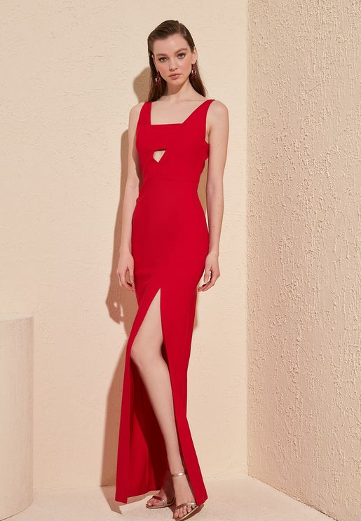 Cut Out Detail Side Slit Dress