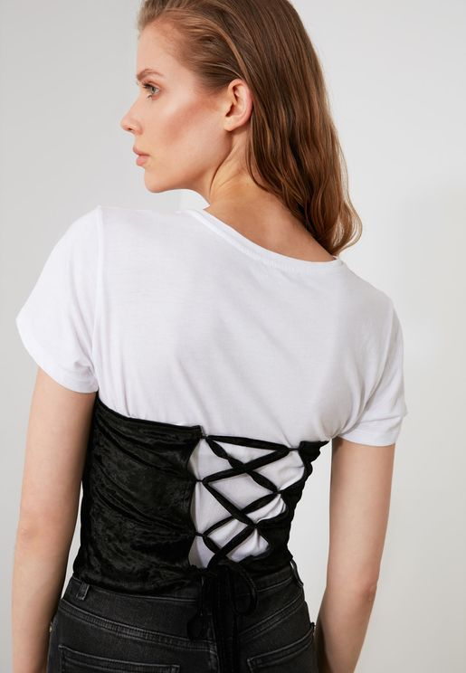 Lace Up Detail Bustier