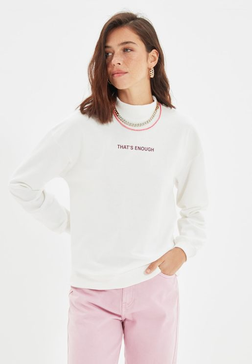 High Neck Knitted Sweatshirt