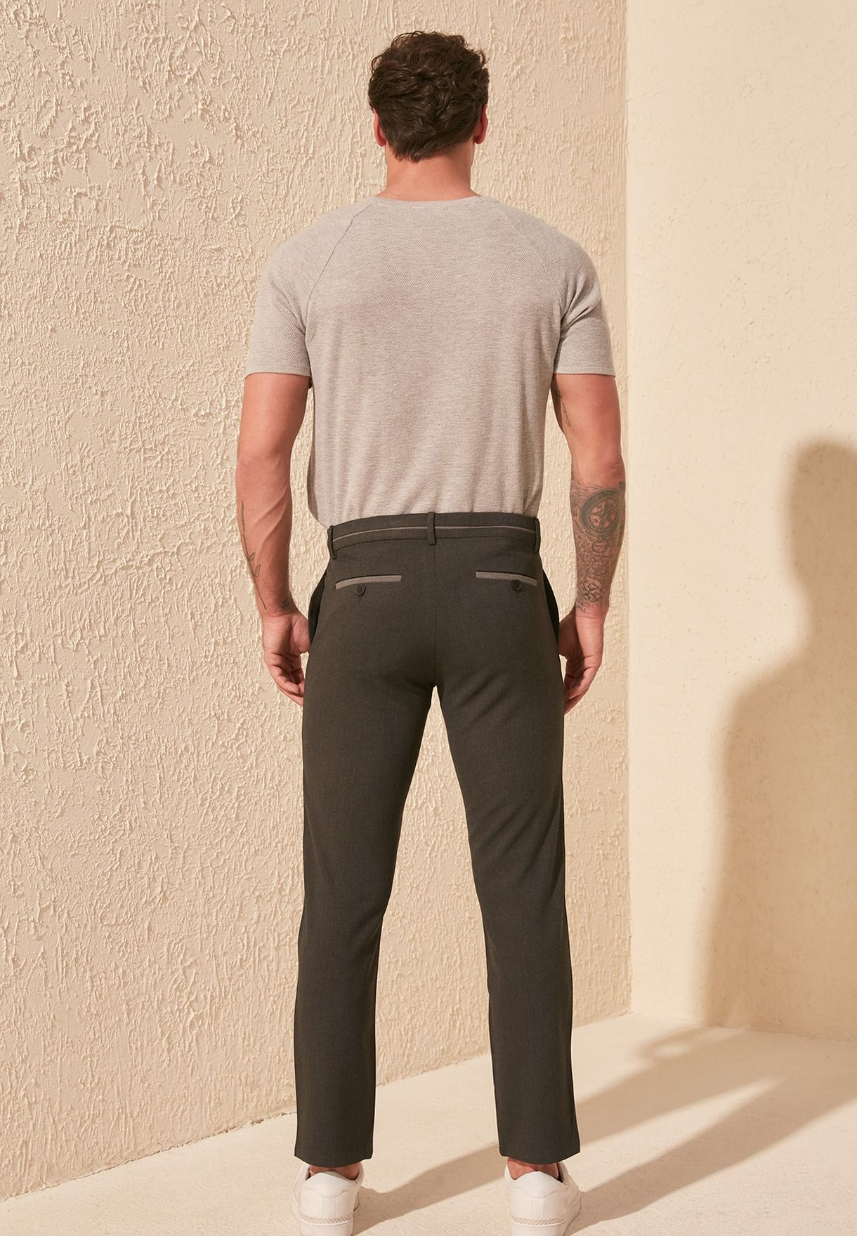 Belt Pipes Slim Fit Trousers