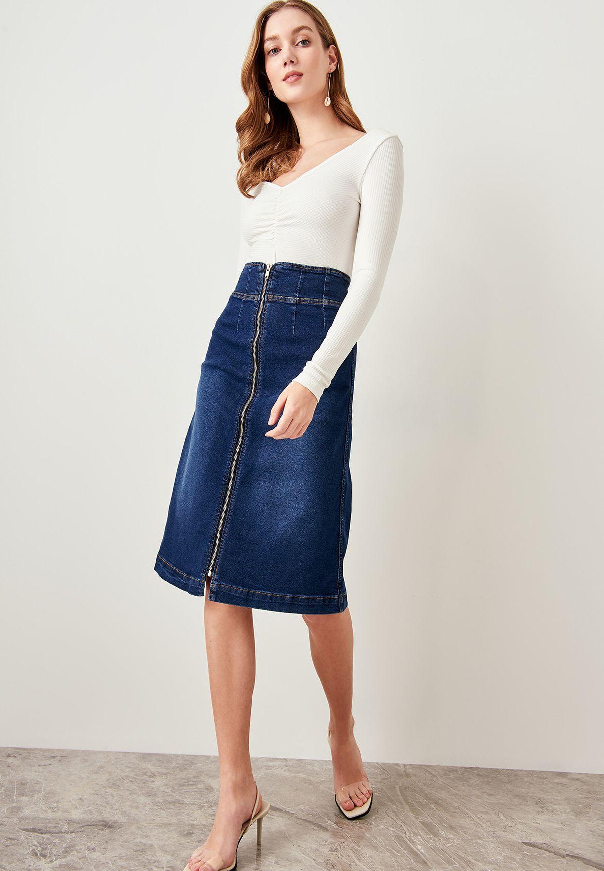 Full Zip Denim Skirt