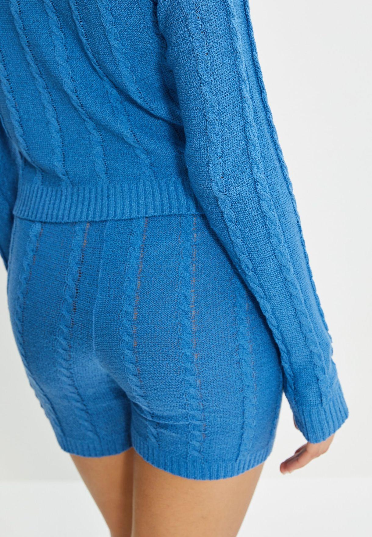 Knitted Sweatshirt & Shorts Set